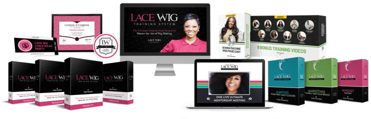 - VIMEO Lace Wig University Full Spread (With Lace Wig University Logo At Top + Full Course)